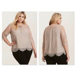 Torrid Size 1 Gray Lace Layered Blouse READ